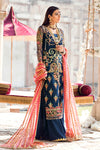 Latest designer embroidered party net dress in lavish blue color