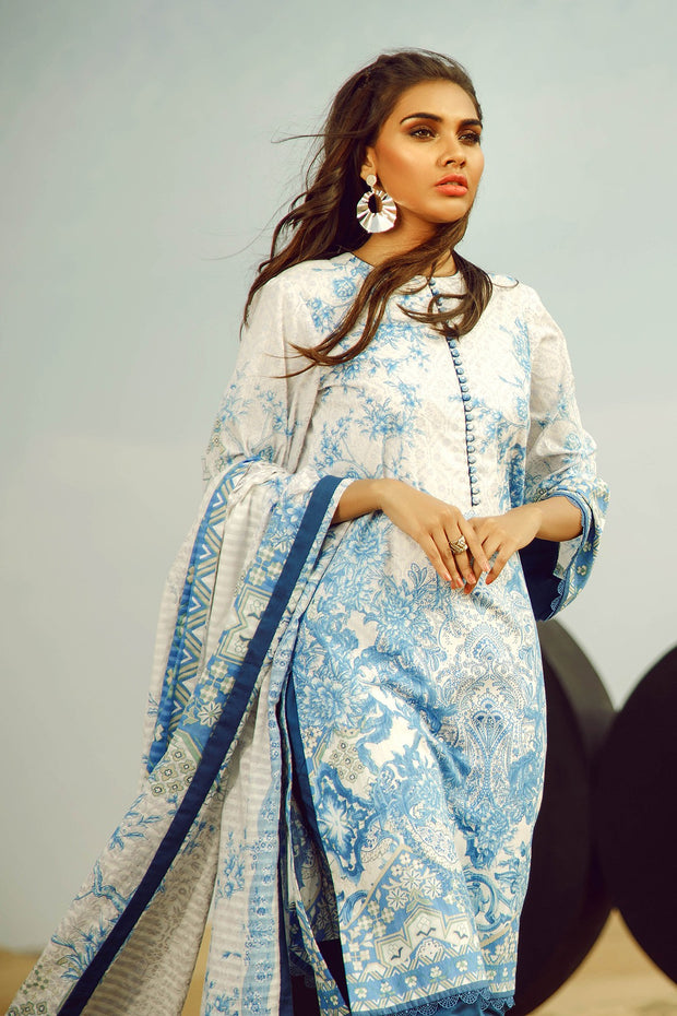 Latest Summer Pakistani printed lawn dress in fresh blue color # P2507