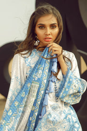 Latest Summer Pakistani printed lawn dress in fresh blue color