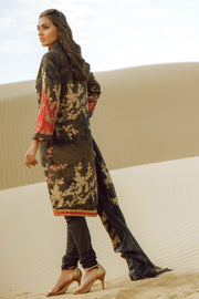 Latest Summer Pakistani printed lawn outfit in elegant black color # P2508