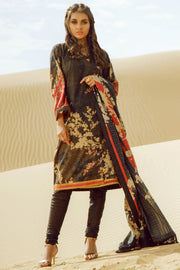 Latest Summer Pakistani printed lawn outfit in elegant black color