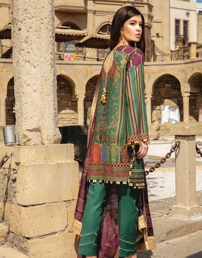 Latest Indian embroidered & printed linen dress in lavish green color
