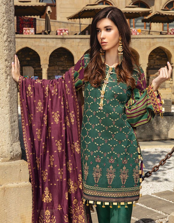 Latest Indian embroidered & printed linen dress in lavish green color # P2416