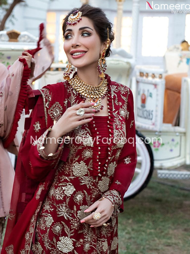red salwar suit for wedding