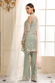 Beautiful Pakistani sequinned net dress in green color # P2328