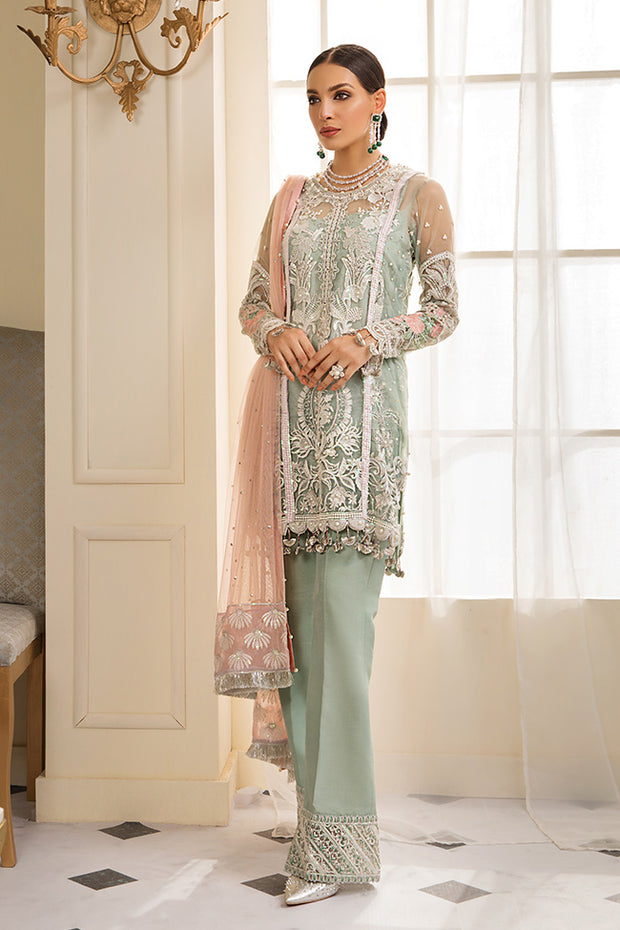 Beautiful Pakistani sequinned net dress in green color