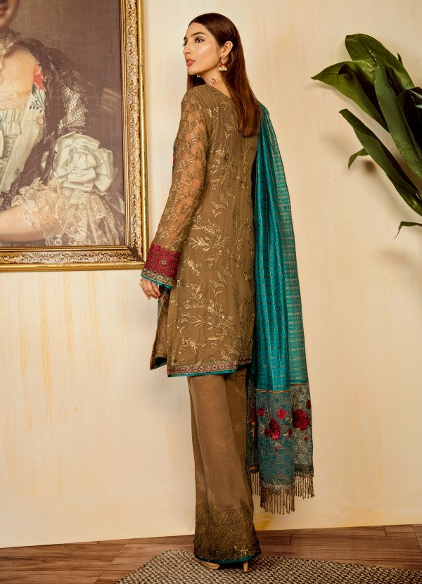 Pakistani sequins and thread embroidered outfit in moss green color # P2324