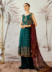 Thread and sequins embroidered frock in cobalt green color # P2320