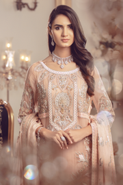 Pakistani Chiffon embroidered shalwar kameez for eid in peach color # P2489