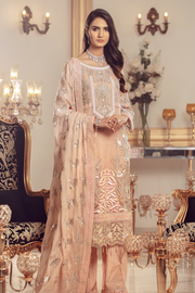 Pakistani Chiffon embroidered shalwar kameez for eid in peach color