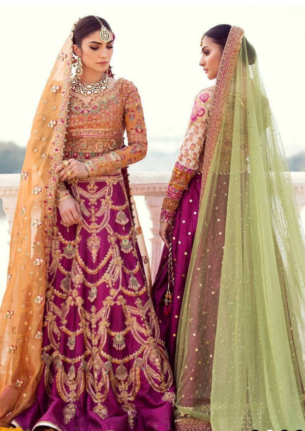 Indian bridal lehenga in traditional colours 2