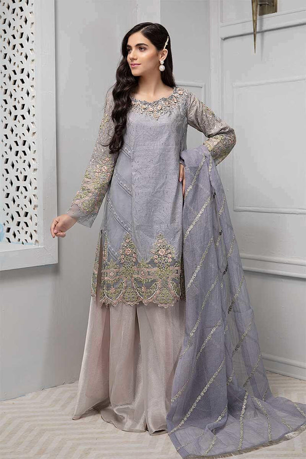 Stylish gharara dress Pakistani in lavish lilac blue color