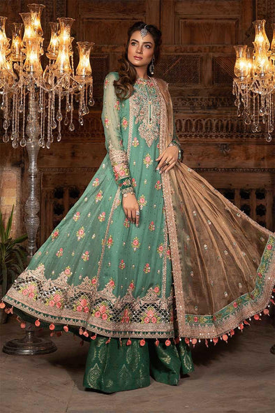 Stylish Pakistani dress for event wear in aquamarine color
