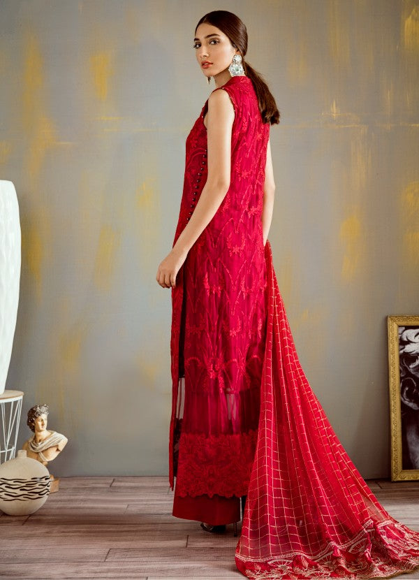 Designer thread embroidered chiffon dress in elegant red color # P2317