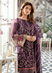 Latest Pakistani thread embroidered chiffon outfit in purple color # P2424