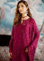 Beautiful thread embroidered chiffon outfit in carmine color # P2319