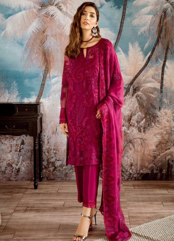 Beautiful thread embroidered chiffon outfit in carmine color