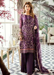 Latest Pakistani thread embroidered chiffon outfit in purple color