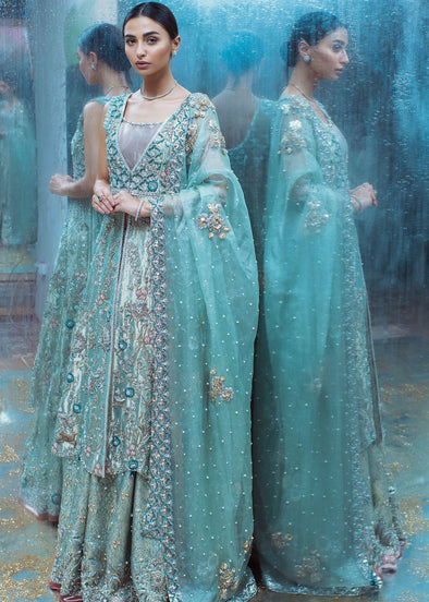 Beautiful Turquoise Lehenga in Anarkali Style