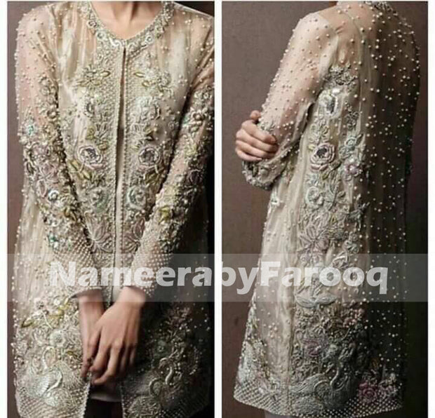 Elegent Gray Wedding Party Dress With Full Of Thread Nugh & Pearl Work Model# P 212