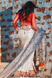 Elegant Indian white ghaghra choli dress with red choli # B3319