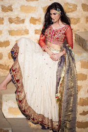 Elegant Indian white ghaghra choli dress with red choli