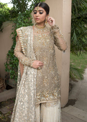 Pakistani designer embroidered white gharara dress # B3359