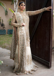 Pakistani designer embroidered white gharara dress