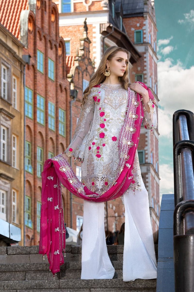 Pakistani designer white sequins embroidered dress # P2312