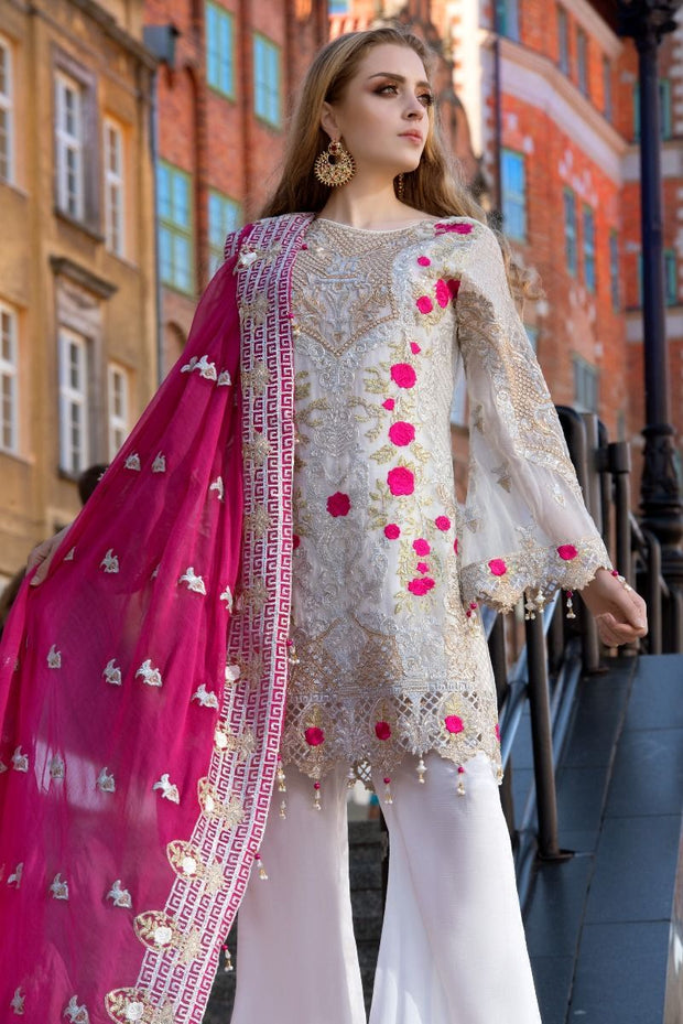 Pakistani designer white sequins embroidered dress