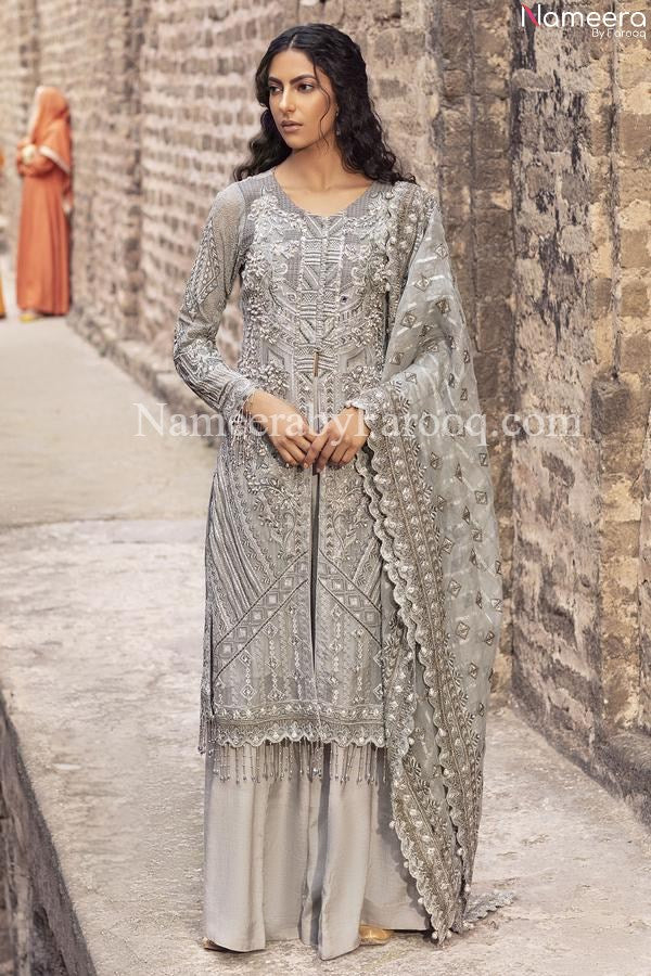 white and silver pakistani dress