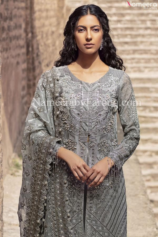 white and silver pakistani dress 2021
