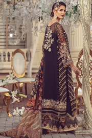 Chiffon embroidered Pakistani women formal eid dress in black color # P2493