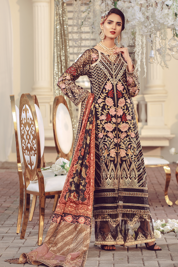 Chiffon embroidered Pakistani women formal eid dress in black color