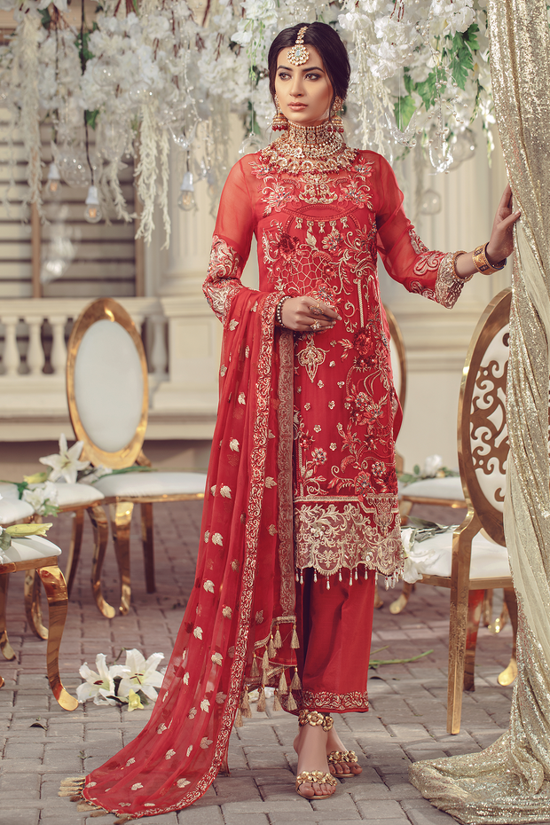 Chiffon embroidered Pakistani women formal eid wear in red color