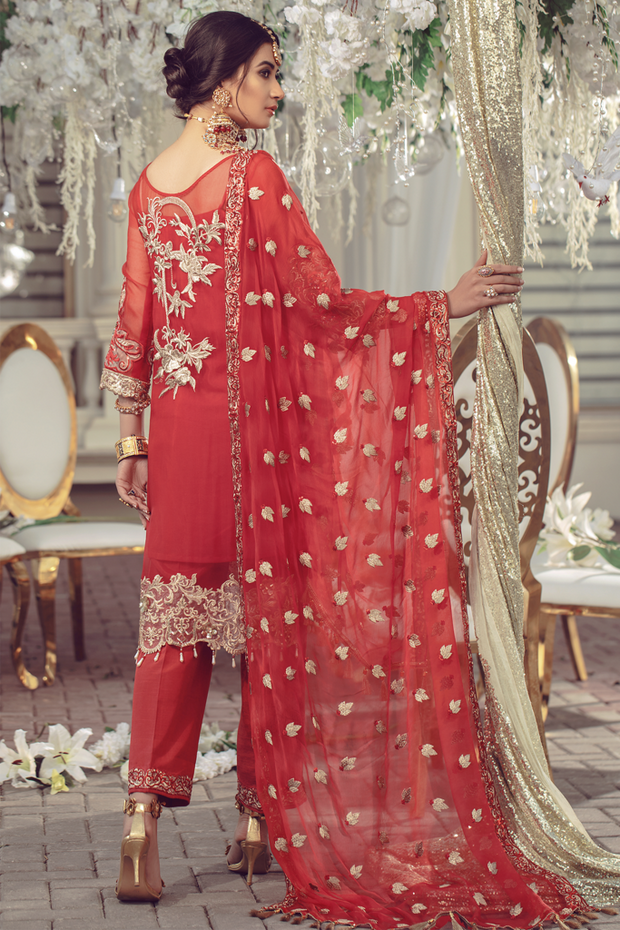 Chiffon embroidered Pakistani women formal eid wear in red color # P2494