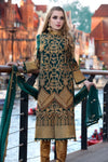 Pakistani designer zardozi embroidered dress in green color # P2309