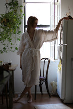 Full Length Linen Robe in Desert Rose with side tie
