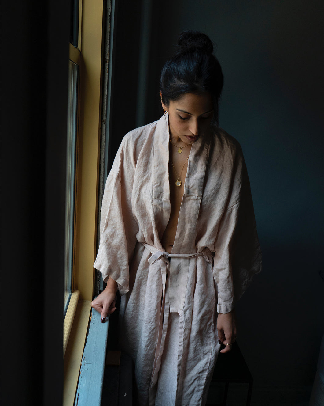 Full Length Linen Robe in Blush
