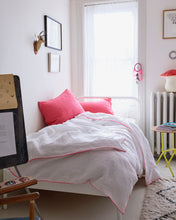 Linen Duvet - White with Neon Pink Piping
