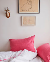 Linen Duvet Cover in White - with Neon Pink Piping