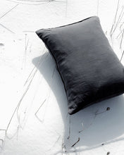 Linen Pillow Case - Dark Grey with Piping
