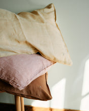 Linen Pillow Case - Earth Rose with Piping