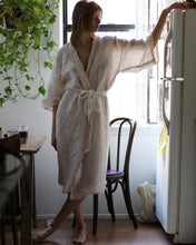 Hand Dyed Full Length Linen Robe in Desert Sand