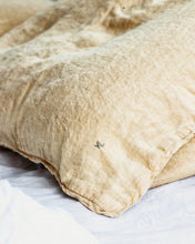 Linen Pillow Case - Ochre with Piping
