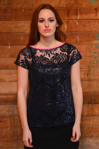 Distinction - an adorable navy sequin top for that special night out