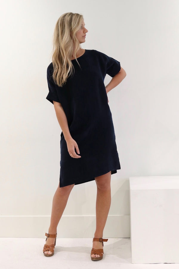 Natalie Busby Cupro T Dress, Sapphire. Made in Nashville