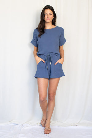 Summer Short - Cotton Gauze - Ocean