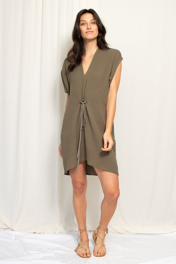 Cascade Mini Dress - Cotton Gauze - Moss