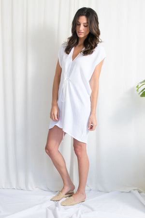 Cascade Mini Dress - Cotton Gauze - White